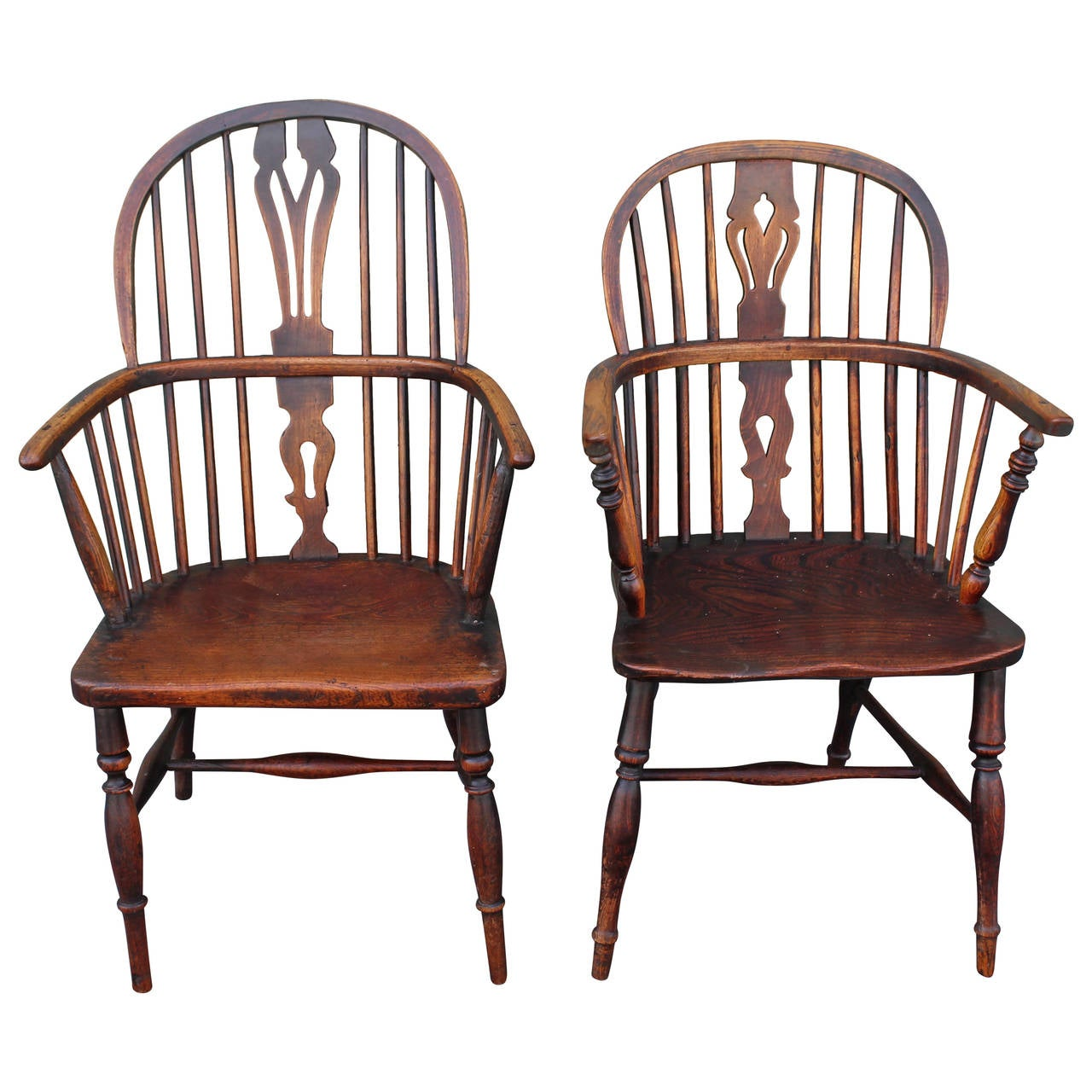 Amazing  Pair of 18Thc English Extended Arm Windsor Chairs
