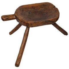 Early 19th Century Handmade Milking Stool from Pennsylvania