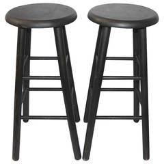 Pair of Black Painted Bar Stools