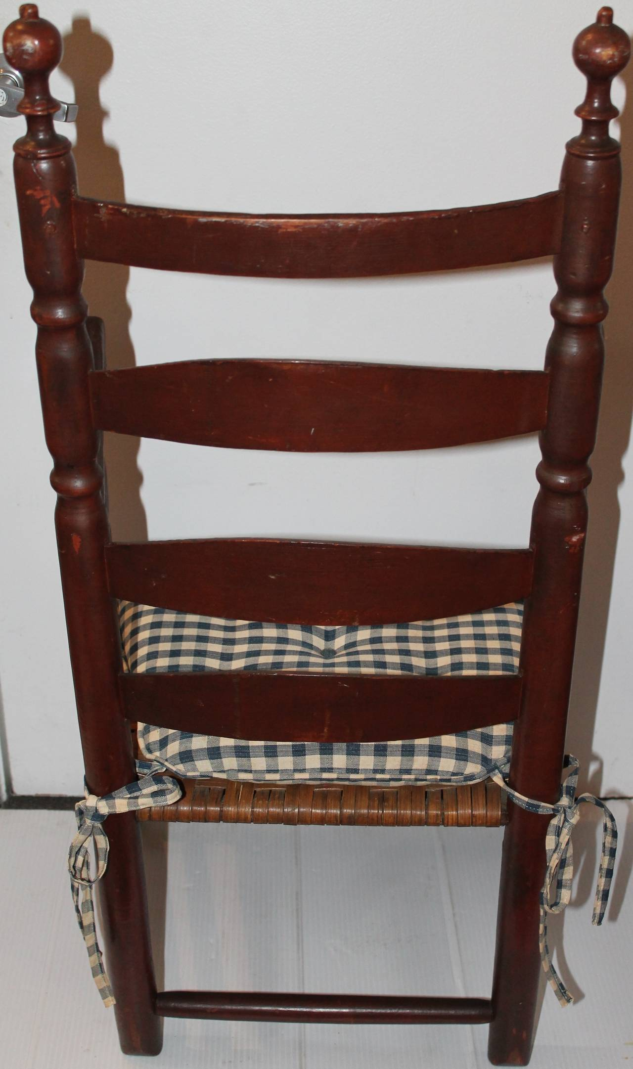 Wicker 18th Century Original Painted Ladder Back Armchair For Sale