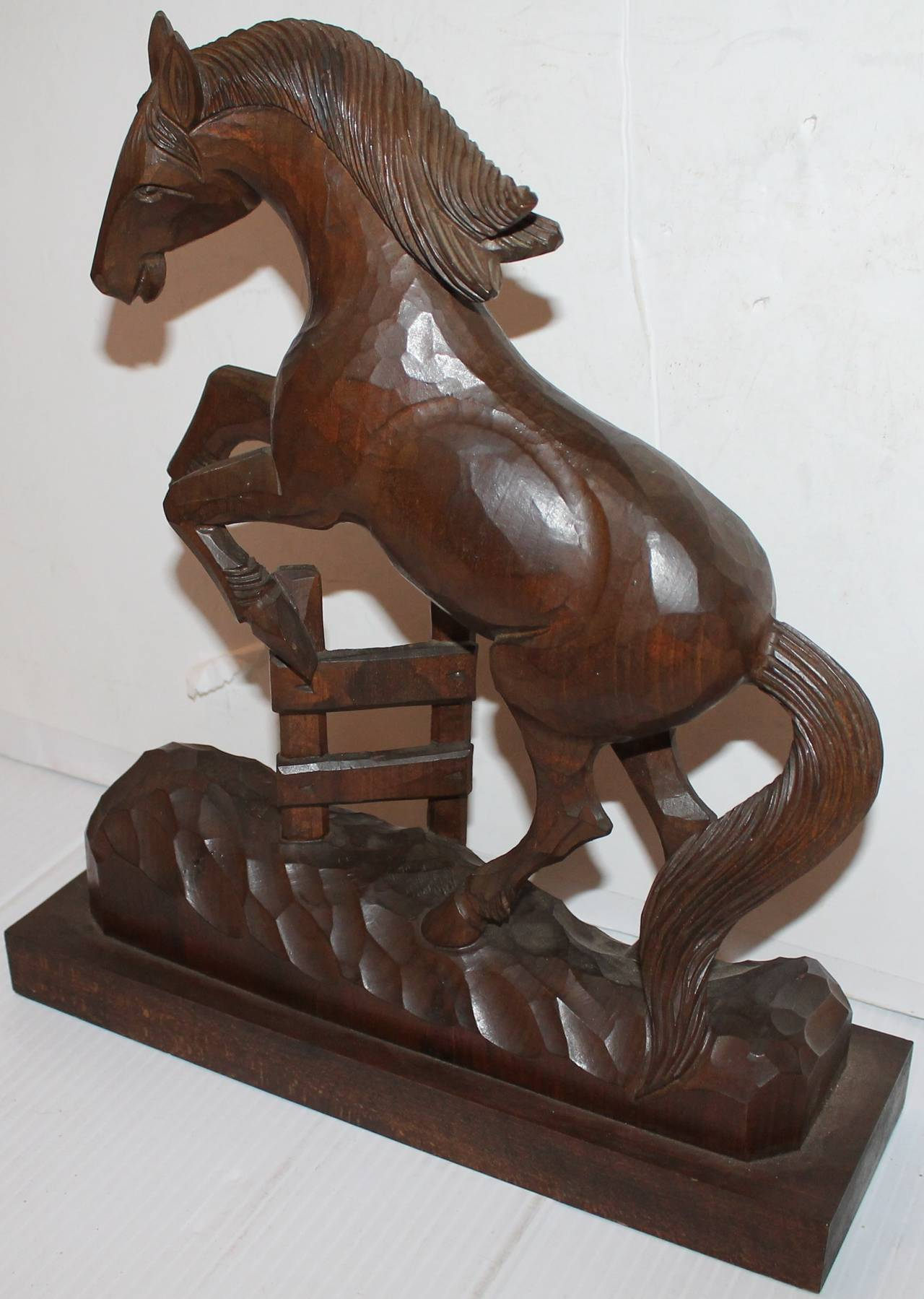 Amazing hand carved wood horse for sale at stdibs