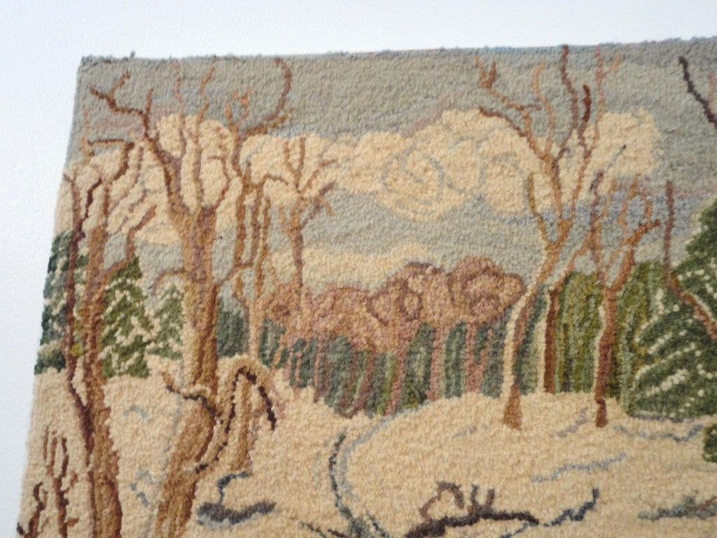 This 1930s Folky New England Log Cabin Snow Scene Mounted Hooked Rug