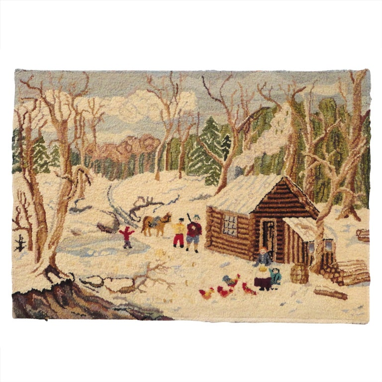 1930 S Folky New England Log Cabin Snow Scene Mounted