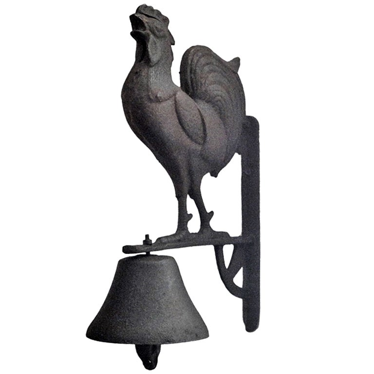 Rare And Unusual 19thc Rooster Wall Mount Dinner Bell At