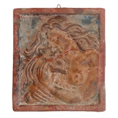 Early and Rare Original Painted Terracotta Plaque of Lady and Cat