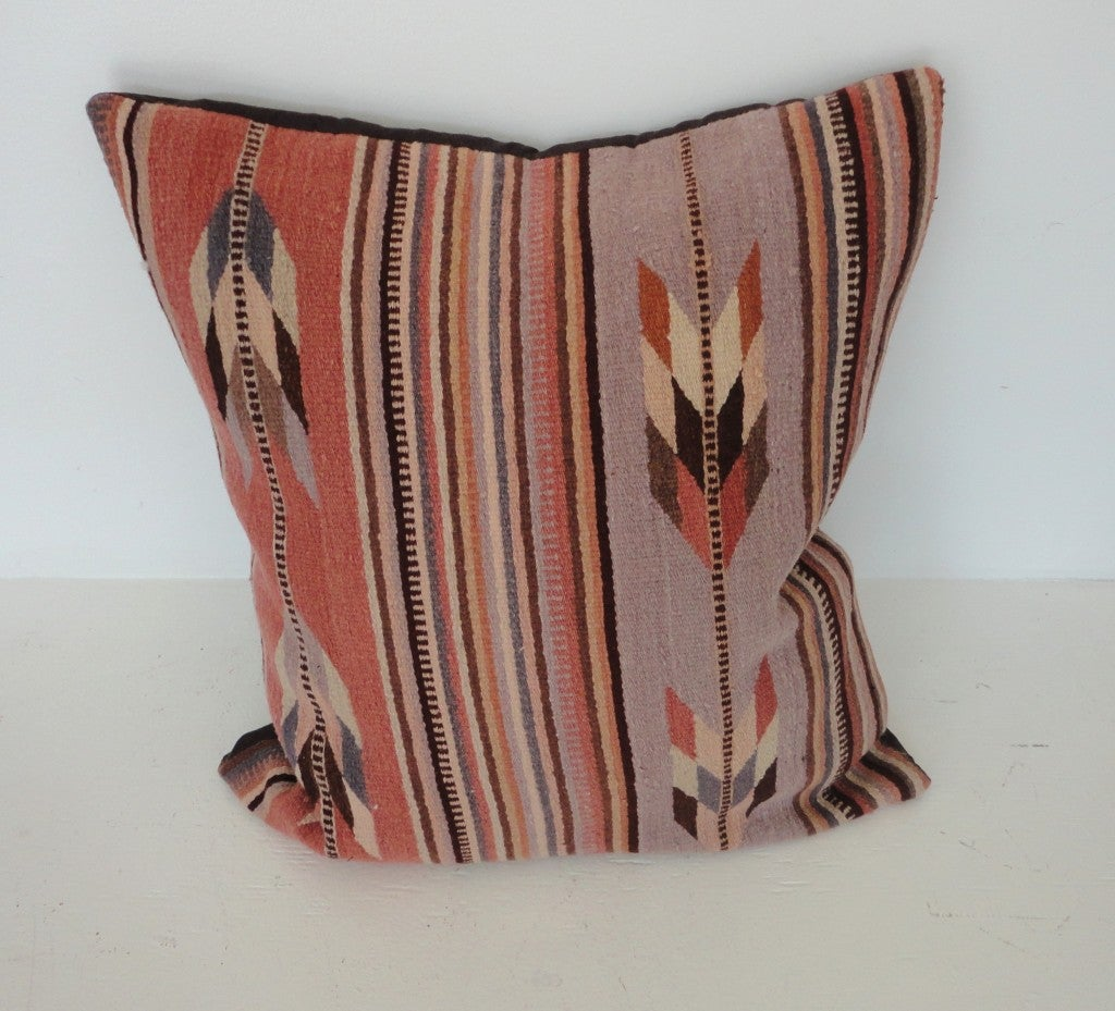 Zapotec Throw Pillows : Mexican Zapotec Indian Weaving Pillows In Pastel Feather Pattern at 1stdibs