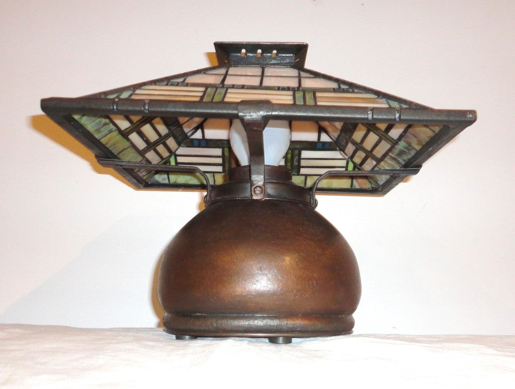 fantastic bronze signed arts and crafts table lamp at 1stdibs. Black Bedroom Furniture Sets. Home Design Ideas