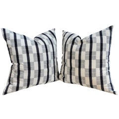 Pair of 19th Century Linen Patch Work Pillows with White Homespun Linen Back