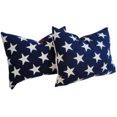 Pair of Flag Pillows w/Red & White Striped  Flag Backing