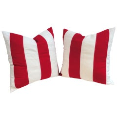 Red & White Vintage Flag Material Pillows/Pair
