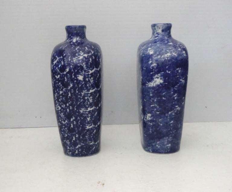 Belgian Pair of 19th Century Sponge Ware Vases/Bottles For Sale