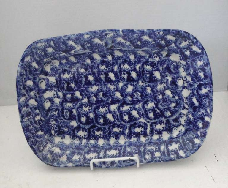 American Large 19th Century Spongeware Platter For Sale