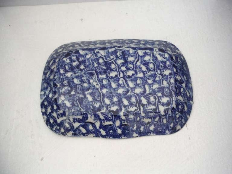 Large 19th Century Spongeware Platter In Excellent Condition For Sale In Los Angeles, CA