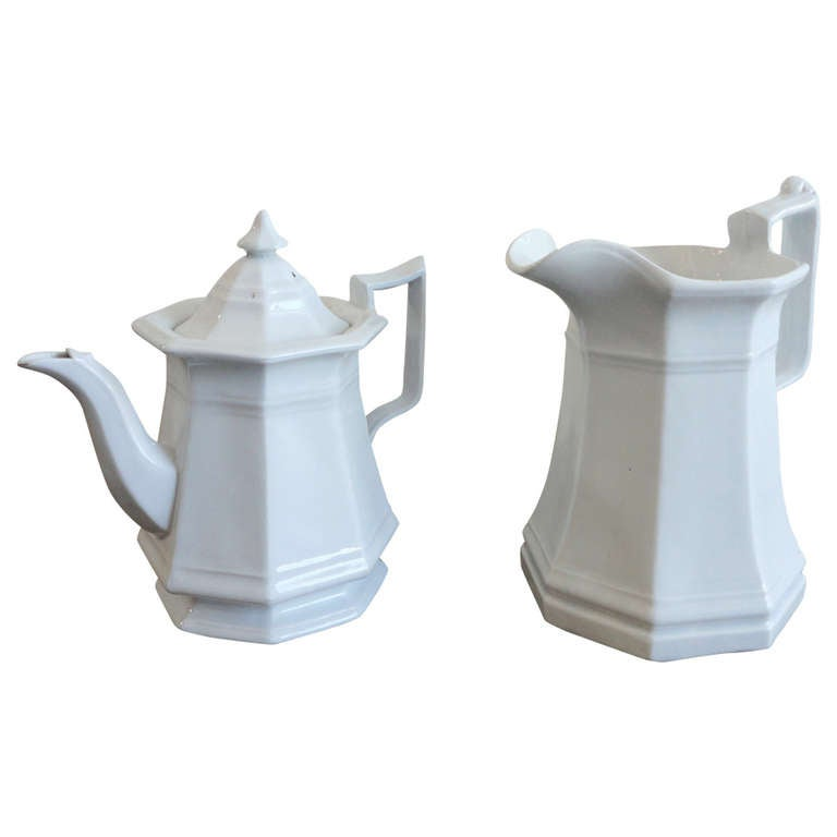 19th Century, Ironstone Teapot and Pitcher
