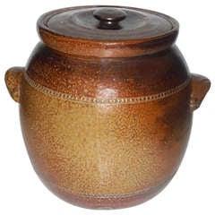 Monumental Salt Glazed Stone Ware Double Handled Bean Pot