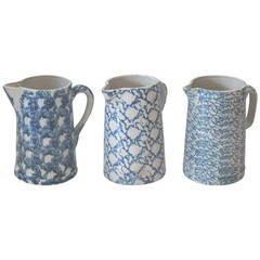 Fantastic Collection of Three 19th Century Sponge Ware Pitchers
