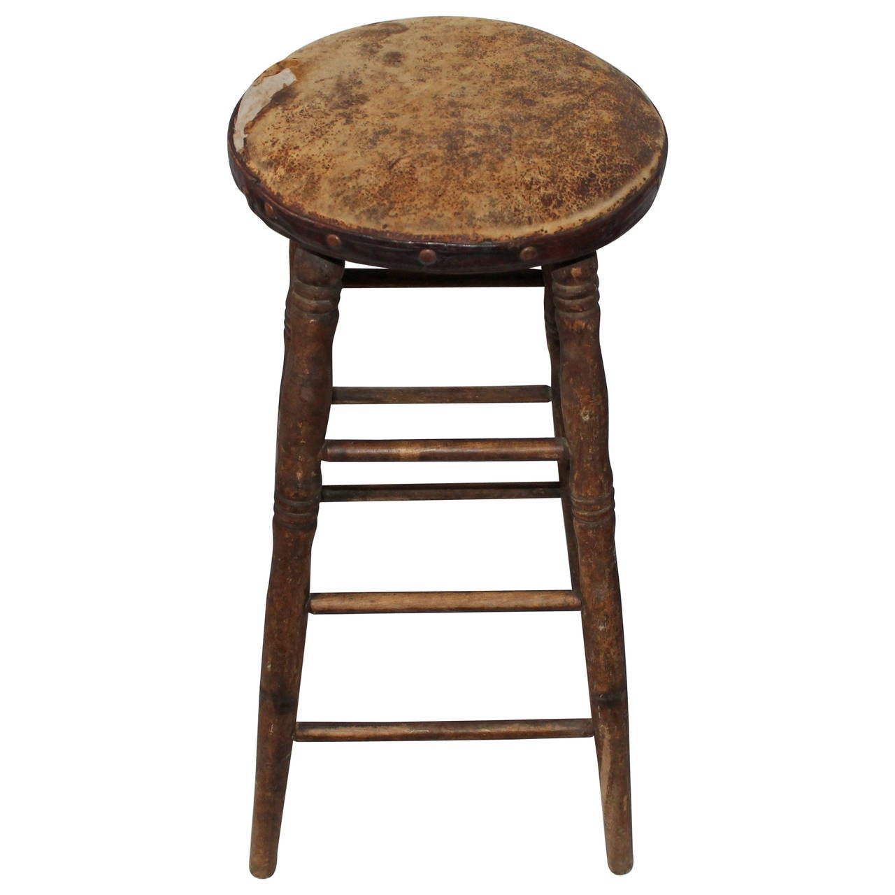 19th Century Original Old Surface Bar Stool With Leather