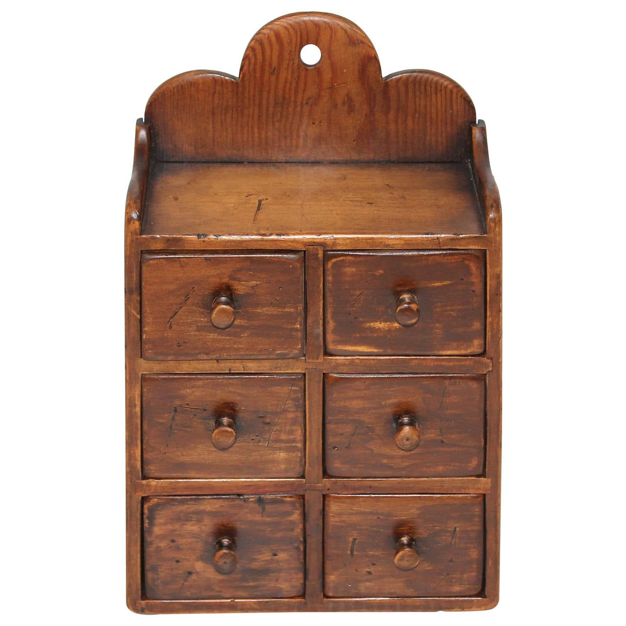 19th Century Pine Six-Drawer Hanging Spice Cabinet For Sale at 1stdibs