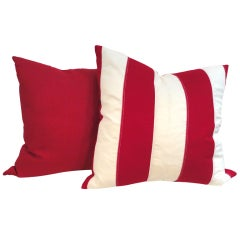Flag Material Red & White Striped Pillows W/ Red Linen Backing