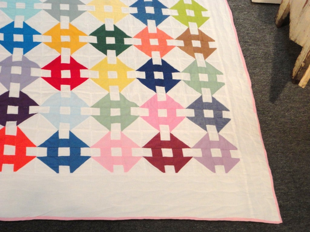 Pastel Amish Hole In The Barn Door Quilt From Ohio at 1stdibs