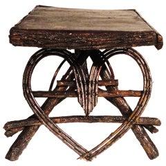 Folky Heart Twig Side Table w/Original Bark Covering