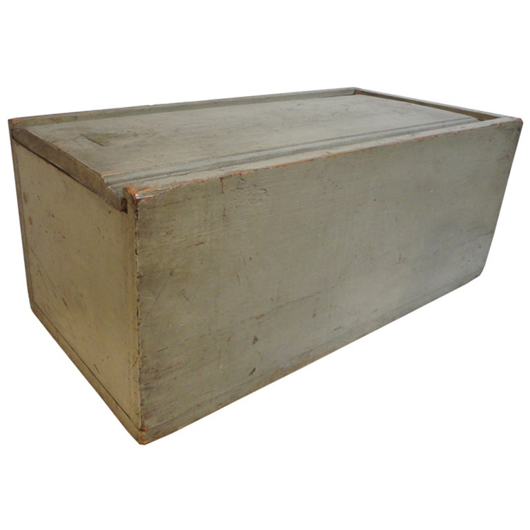 19th Century Original Grey Painted Large Candle Box from New England