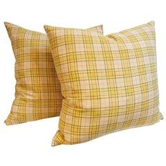 Pendleton  Yellow Plaid Blanket Pillows,Pair