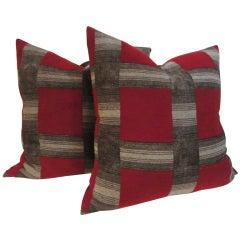 Beacon Blanket Pillows w/ Brown  Linen Backing,Pair
