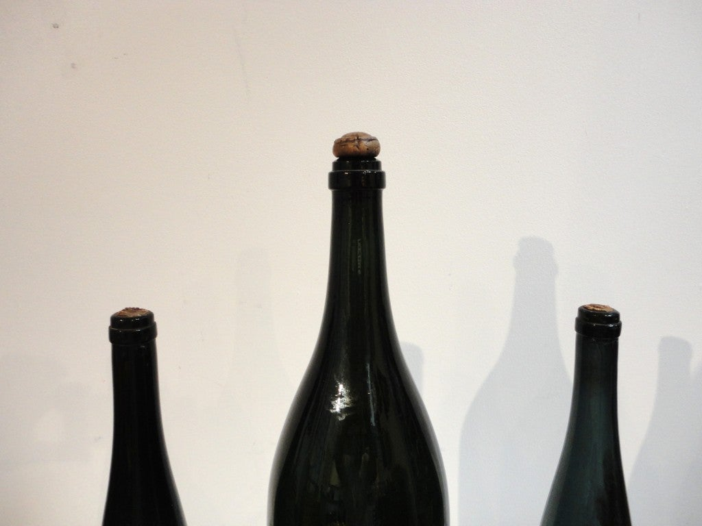 Group of Three Early 19th Century Wine Bottles with Original Corks 2