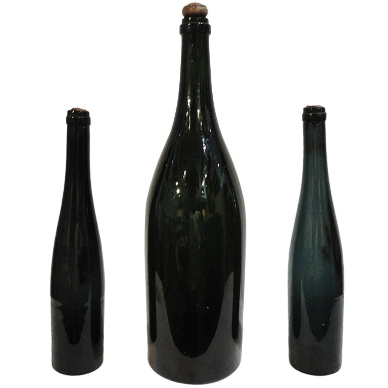 Group of Three Early 19th Century Wine Bottles with Original Corks 1
