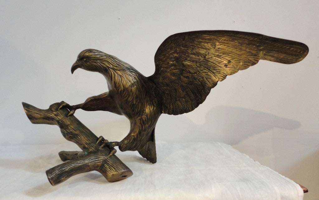 Large Early 20th Century Brass Eagle on Branch Standing Sculpture For Sale 3