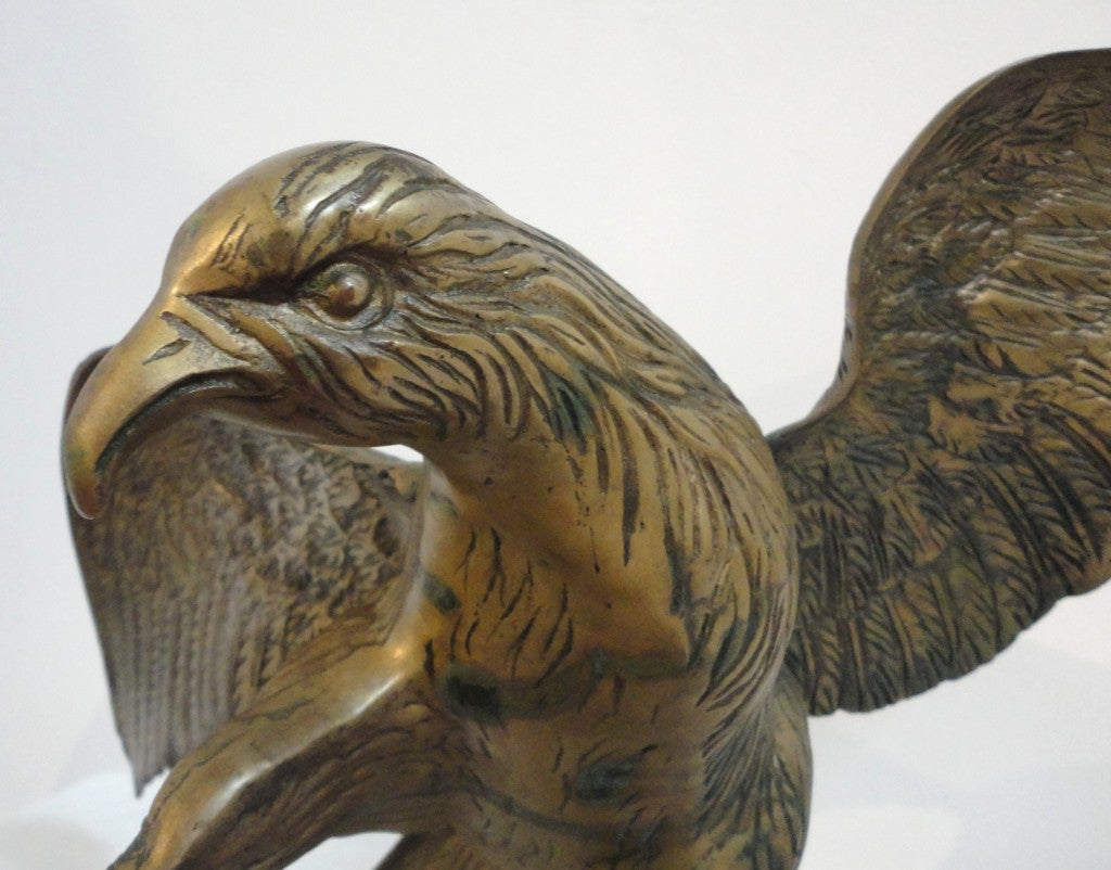Large Early 20th Century Brass Eagle on Branch Standing Sculpture For Sale 5