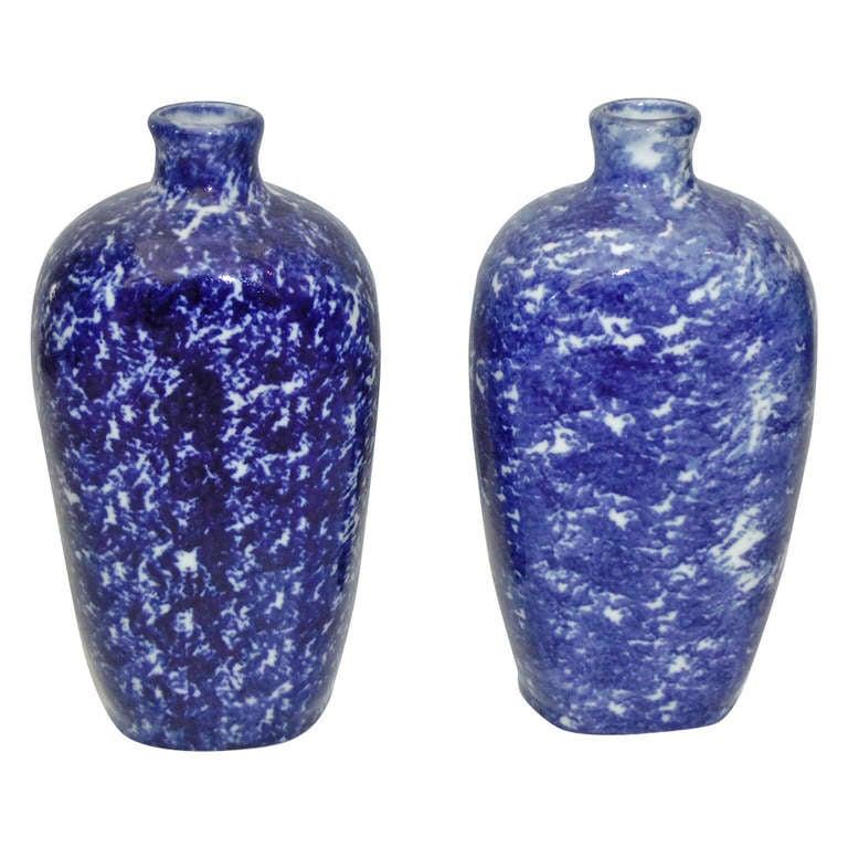 Pair of 19th Century Sponge Ware Vases/Bottles