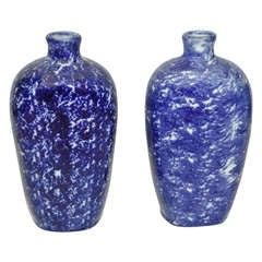 Pair of 19th Century Sponge Ware Vases/Bottles