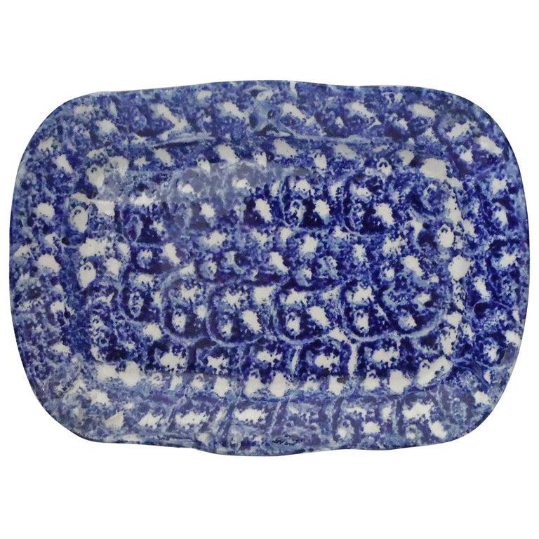 Large 19th Century Spongeware Platter For Sale