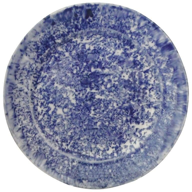 19th Century Spongeware Dinner Plate