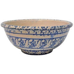 19th Century Large Songeware Pottery Serving Bowl