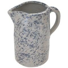 19th Century Spongeware Pottery Speckled Pitcher
