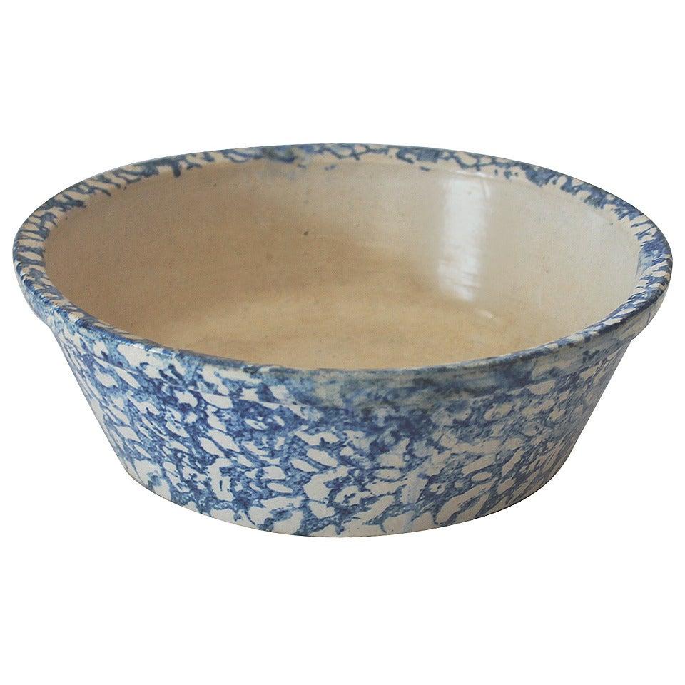 19th Century Spongeware Serving Bowl