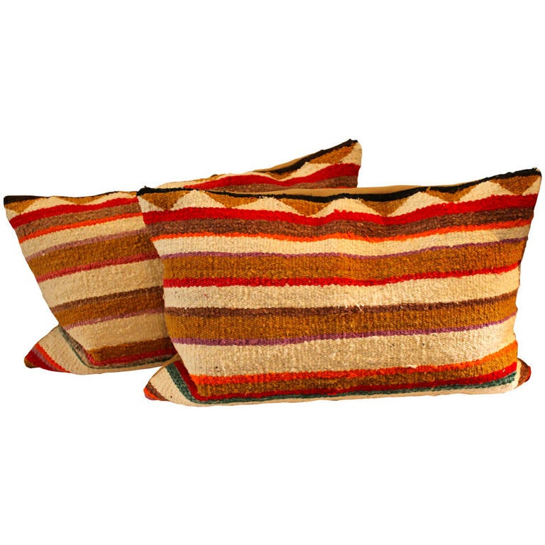 Pair of Navajo Indian Striped Saddle Blanket Weaving Pillows