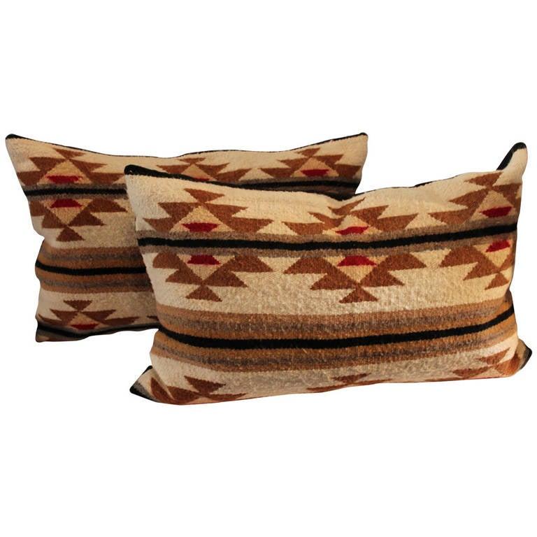 Pair of Navajo Indian Weaving Bolster Pillows