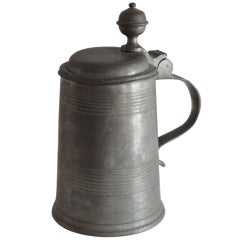 Fantastic 19thc American Pewter Tankard From Pennsylvania