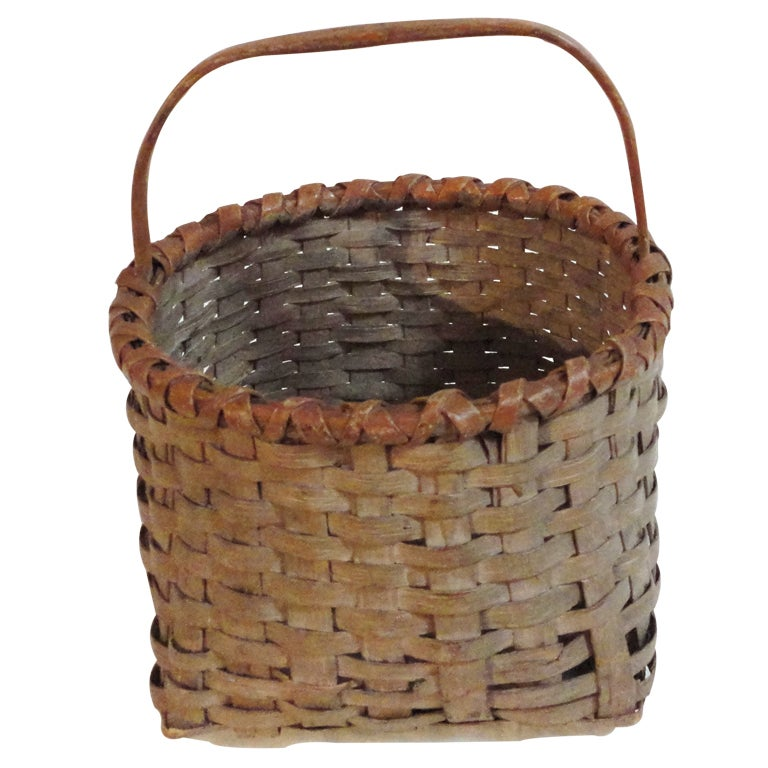 Fantastic 19thc Taupe Painted Basket W Camel Trim At 1stdibs