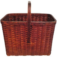 19th Century Shaker Style Tall Large Picnic Basket