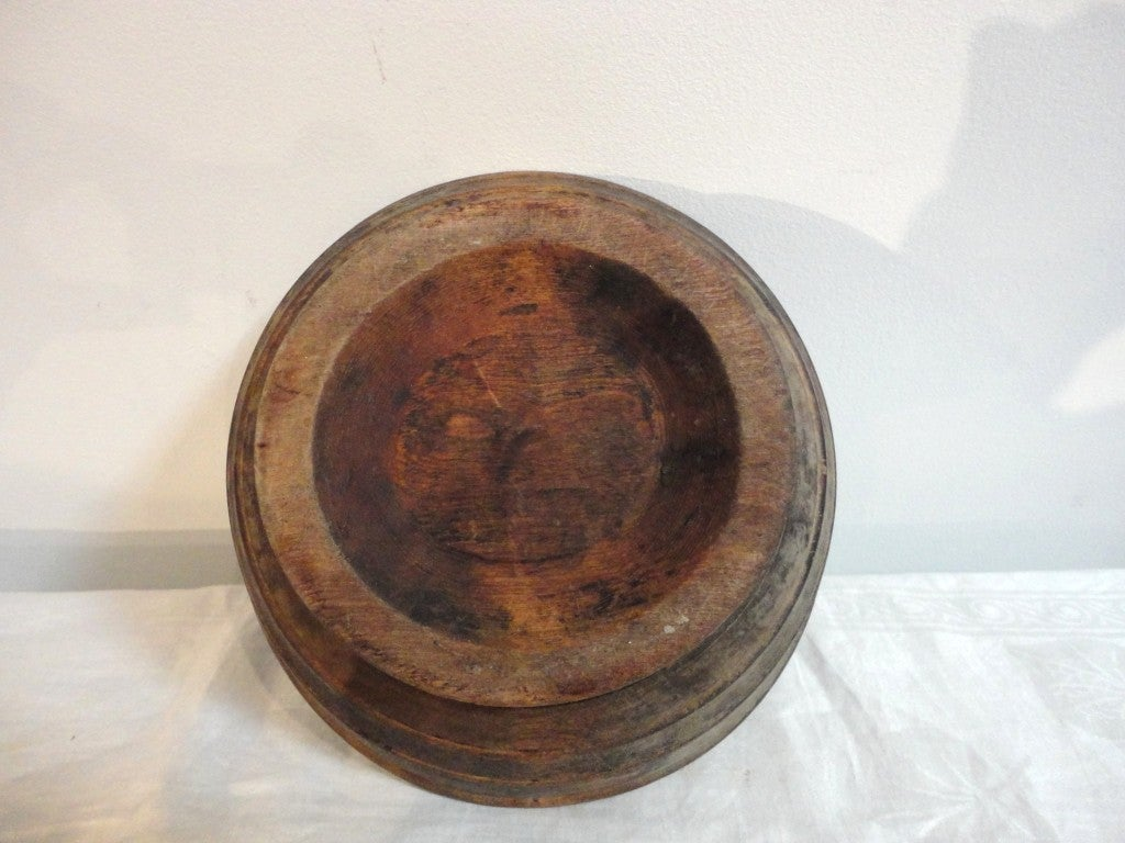 Rare 18th Century Treen Wood Pedestal Compote For Sale At