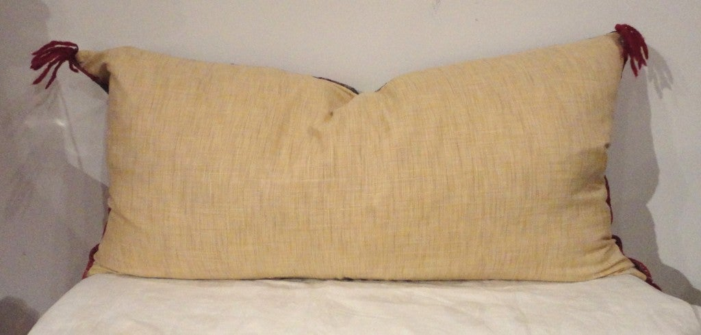 Amazing Early Navajo Geometric Weaving Bolster Pillow at 1stdibs