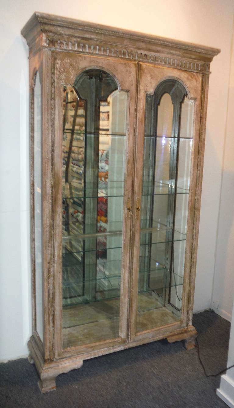 French Distressed Antique Decorative Display Cabinet At