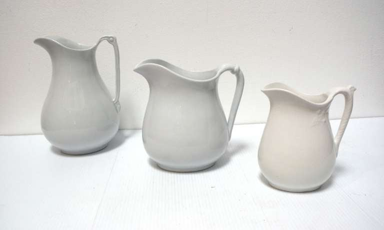 Group of Three 19th Century English Ironstone Pitchers 2
