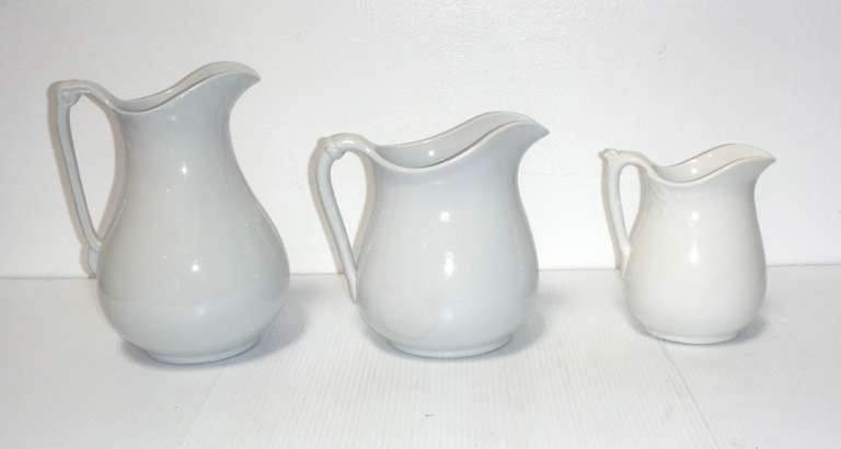 Group of Three 19th Century English Ironstone Pitchers 4