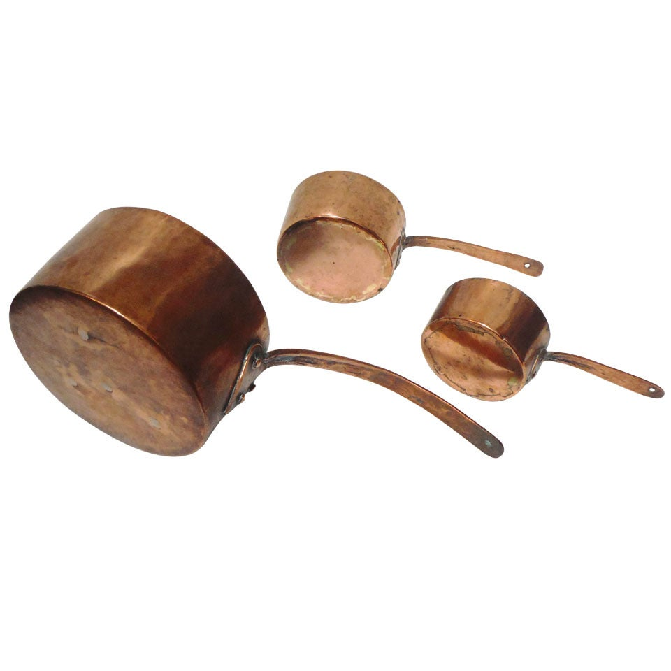 Collection of Three 18th Century Handmade Copper Pots